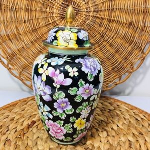 Rare,hand painted enameled floral vase.